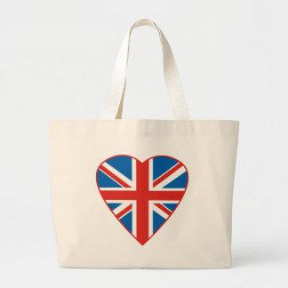 British Flag Heart Large Tote Bag