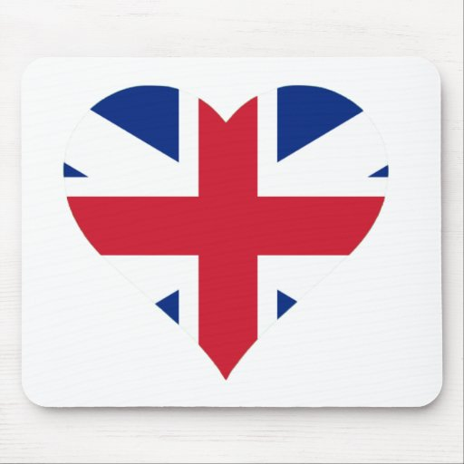 British Flag Heart Mouse Pad