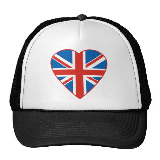 British Flag Heart Trucker Hat