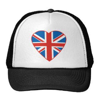 British Flag Heart Trucker Hat
