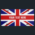 """British flag license plate with Union Jack<br><div class=""""desc"""">British flag license plate with Union Jack and personalized text. English colors of Great Britain Uk United Kingdom.</div>"""