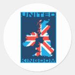 British Flag Map Round Stickers
