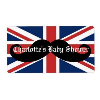 British Flag Mustache Baby Shower Water Bottle Label