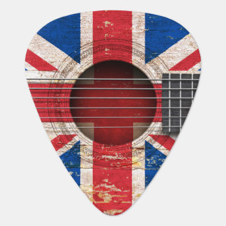 British Flag on Old Acoustic Guitar Guitar Pick