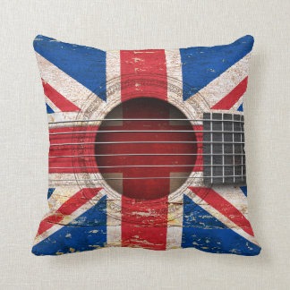 British Flag on Old Acoustic Guitar Throw Pillow