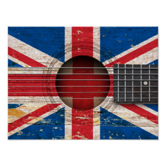 British Flag on Old Acoustic Guitar Print