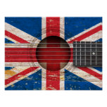 British Flag on Old Acoustic Guitar Print