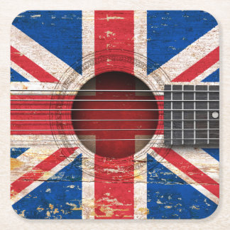 British Flag on Old Acoustic Guitar Square Paper Coaster
