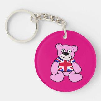 British Flag - Pink Teddy Bear Double-Sided Round Acrylic Keychain