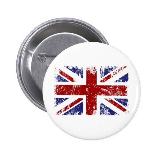 British Flag Punk Grunge Pinback Buttons