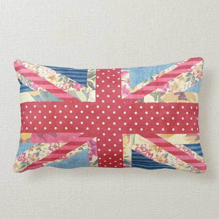 British Flag Quilt Shabby Chic Lumbar Pillow Zazzle Com
