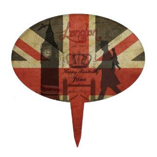 British Flag, Red Bus, Big Ben & Authors Cake Pick