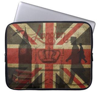 British Flag, Red Bus, Big Ben & Authors Laptop Sleeve