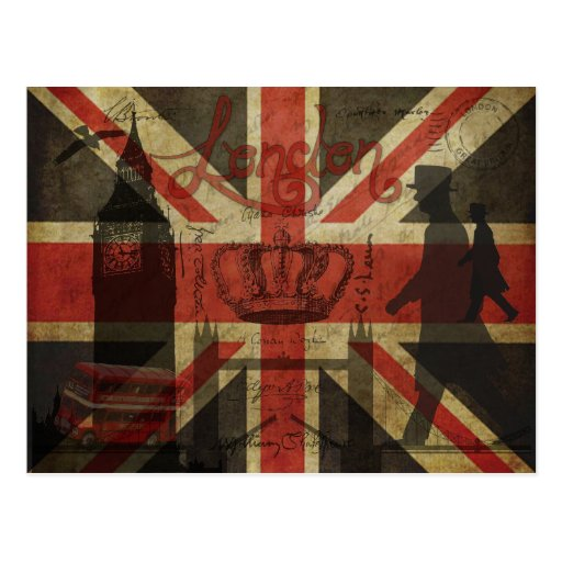 British Flag, Red Bus, Big Ben & Authors Post Cards