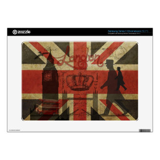British Flag, Red Bus, Big Ben & Authors Samsung Chromebook Skin