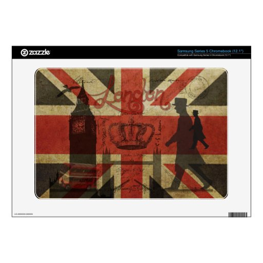 British Flag, Red Bus, Big Ben & Authors Samsung Chromebook Skin