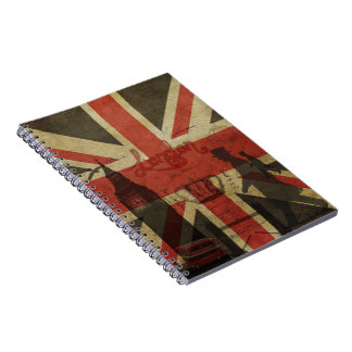 British Flag, Red Bus, Big Ben & Authors Spiral Notebook