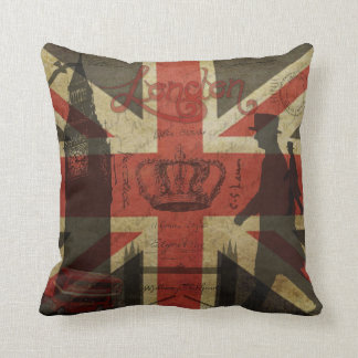 British Flag, Red Bus, Big Ben & Authors Throw Pillow
