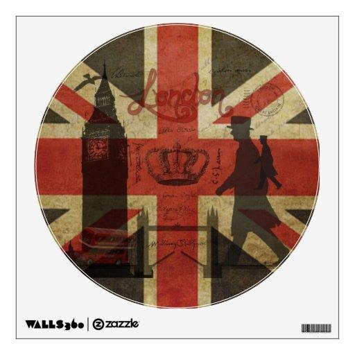 British Flag, Red Bus, Big Ben & Authors Wall Decor