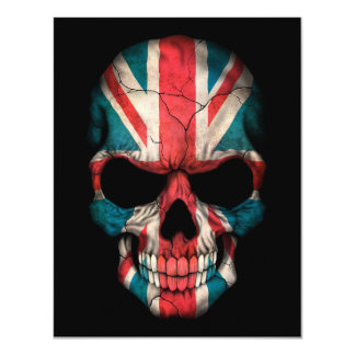 British Flag Skull on Black Card