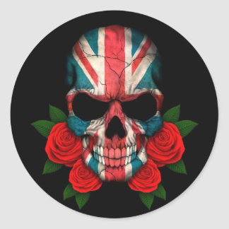 British Flag Skull with Red Roses Round Stickers