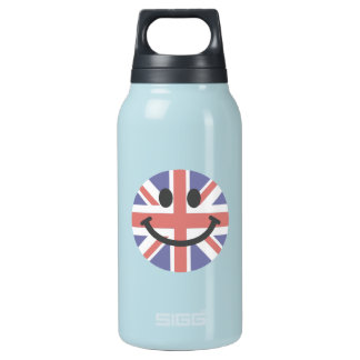 British Flag Smiley face Insulated Water Bottle