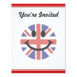 British Flag Smiley face 4.25x5.5 Paper Invitation Card