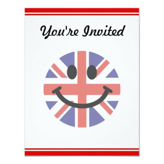 British Flag Smiley face 4.25x5.5 Paper Invitation Card