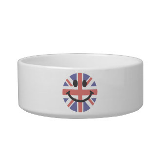 British Flag Smiley face Cat Food Bowl