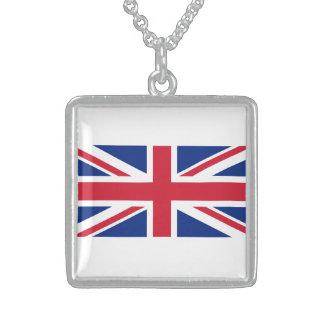 BRITISH FLAG SQUARE PENDANT NECKLACE