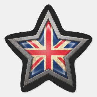 British Flag Star on Black Star Sticker