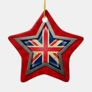 British Flag Star with Rays of Light Ceramic Ornament