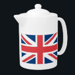 "British Flag Tea Pot<br><div class=""desc"">When it&#39;s time for a cuppa,  serve it up while sporting UK pride with this Union Jack design. Anglophiles who are not in Britain will also love this design.</div>"