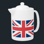 """British Flag Tea Pot<br><div class=""""desc"""">When it&#39;s time for a cuppa,  serve it up while sporting UK pride with this Union Jack design. Anglophiles who are not in Britain will also love this design.</div>"""