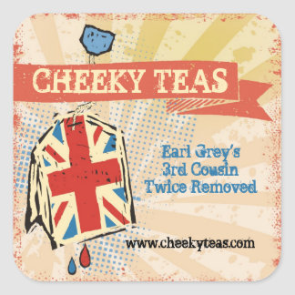 British flag teabag hand blended teas label square sticker