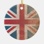 British Flag, (UK, Great Britain or England) Double-Sided Ceramic Round Christmas Ornament