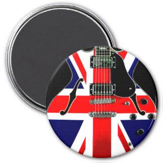 British Flag Union Jack Guitar 3 Inch Round Magnet