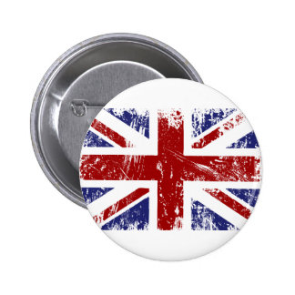 British Flag Union Jack Punk Grunge Pinback Button