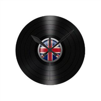 British Flag Vinyl Record Album Graphic Round Clock
