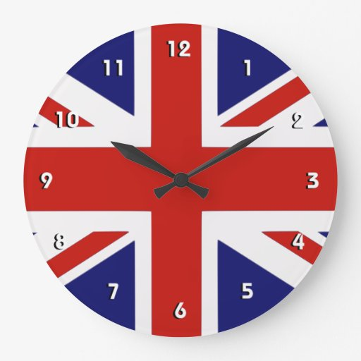 British flag wall clock with numbers