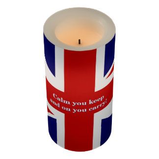 British flag with fun twist on keeping calm flameless candle
