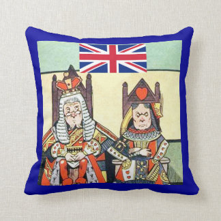British Flag with King & Queen American MoJo Pillo Throw Pillow