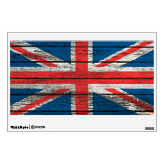 British Flag with Rough Wood Grain Effect Wall Sticker