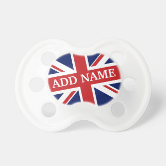 British Flag with Royal Baby Name Pacifier