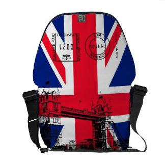 British Flag with Tower Bridge and Stamp Messenger Messenger Bag