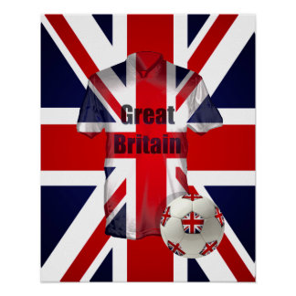 British Football Fans Soccer Jersey and Ball Posters