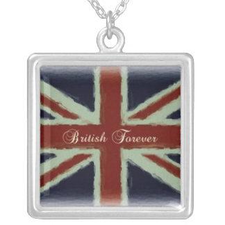British Forever!-Union Jack Design Square Pendant Necklace