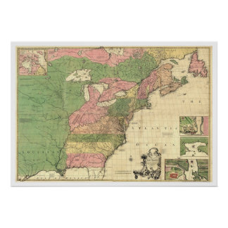 British French America Map 1755 Poster