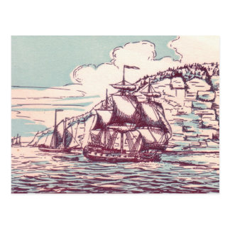 British Frigate 1843 Postcard