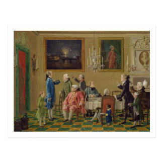 British gentlemen at Sir Horace Mann s home in Flo Postcard